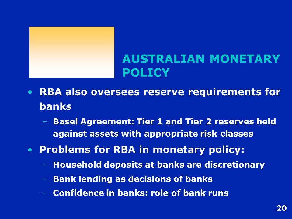 20 AUSTRALIAN MONETARY POLICY RBA also oversees reserve requirements for banks –Basel Agreement: Tier 1 and Tier 2 reserves held against assets with appropriate risk classes Problems for RBA in monetary policy: –Household deposits at banks are discretionary –Bank lending as decisions of banks –Confidence in banks: role of bank runs