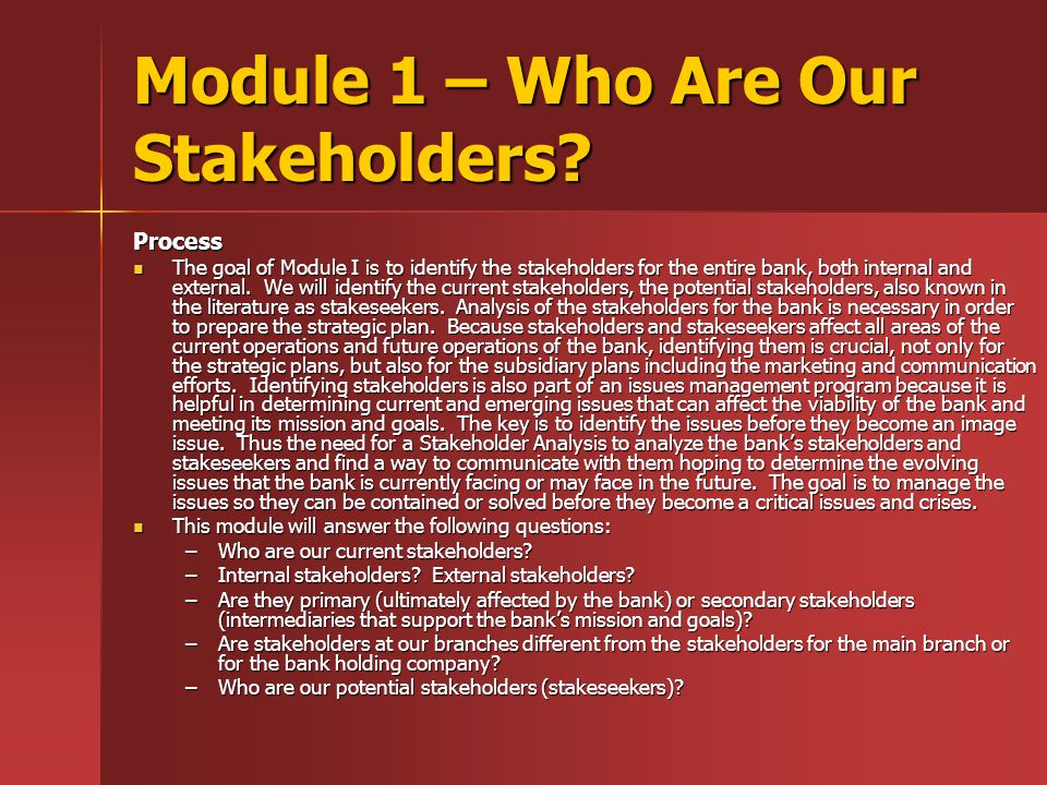 Module 1 – Who Are Our Stakeholders.