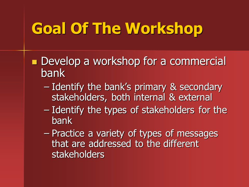 Test Workshop-Bank Background Information Started inn 1960 Started inn 1960 Family-owned, Hispanic bank Family-owned, Hispanic bank Current President is primary stockholder Current President is primary stockholder $180 million in assets $180 million in assets 9 branches located around a metro area 9 branches located around a metro area