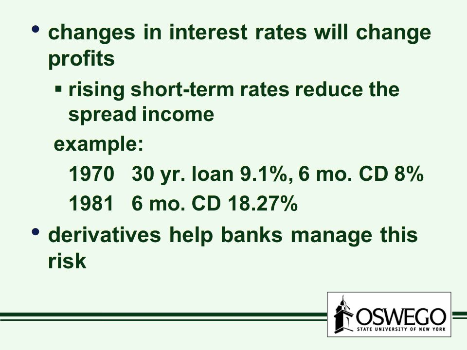 changes in interest rates will change profits rising short-term rates reduce the spread income example: 1970 30 yr.