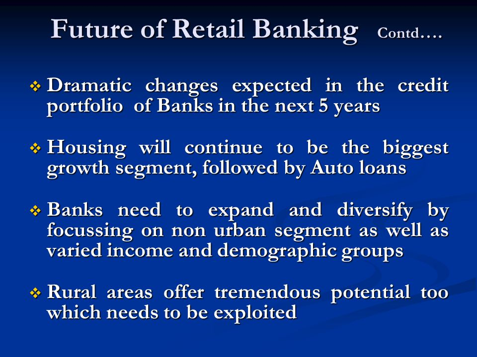 Future of Retail Banking Contd …. Dramatic changes expected in the credit portfolio of Banks in the next 5 years Dramatic changes expected in the cred