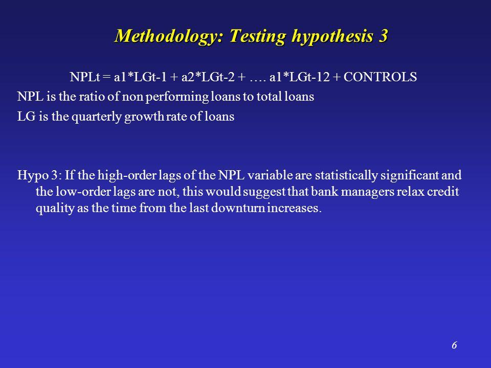 6 Methodology: Testing hypothesis 3 NPLt = a1*LGt-1 + a2*LGt-2 + ….
