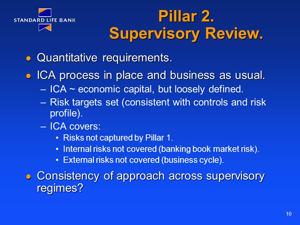 10 Pillar 2. Supervisory Review. Quantitative requirements. Quantitative requirements. ICA process in place and business as usual. ICA process in plac