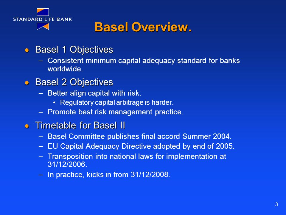 3 Basel Overview. Basel 1 Objectives Basel 1 Objectives –Consistent minimum capital adequacy standard for banks worldwide. Basel 2 Objectives Basel 2