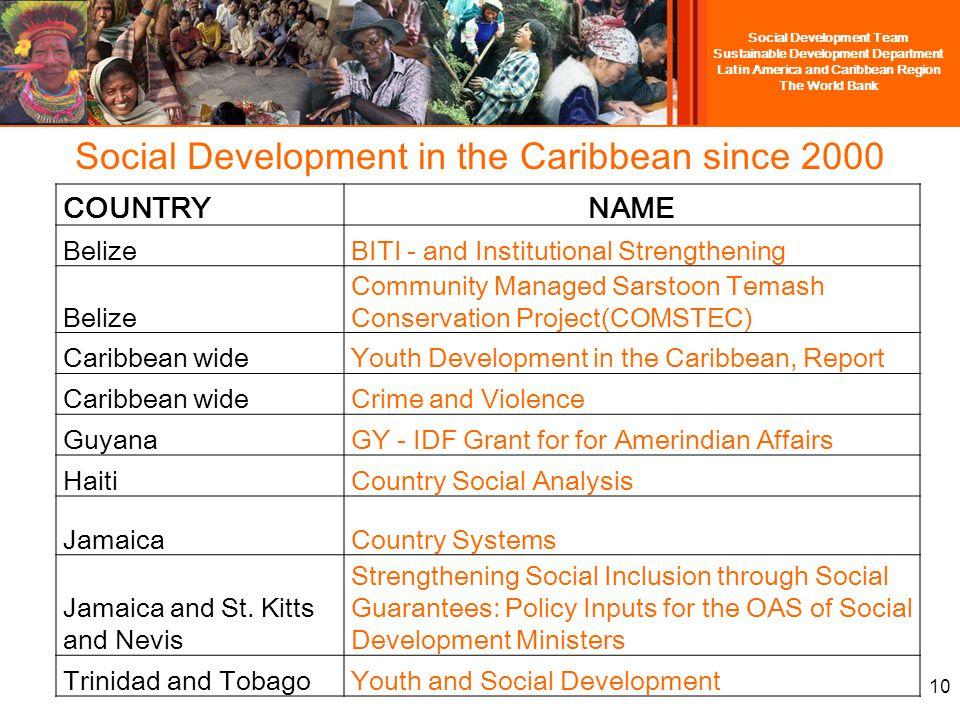 Social Development Team Sustainable Development Department Latin America and Caribbean Region The World Bank 9