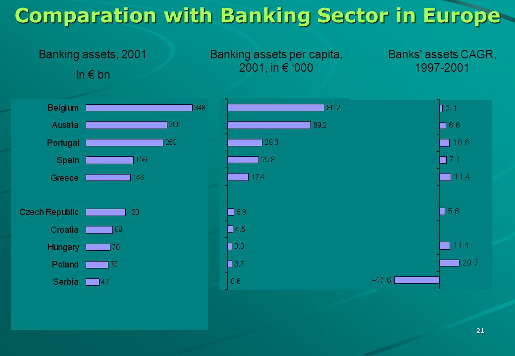 20 The Balance Sheet Structure of Serbian Banks 10.9 bn 4.8 bn Fixed assets Claims of FRY for FC savings Long term placements Short-term placements Cash Capital Long-term provisions Liabilities for frozen FC savings Long-term funds Short-term funds Sight-deposits ASSETSLIABILITIES 10.9 bn 4.8 bn 5.3bn *Excluding the 4 largest banks closed on January 3, 2002
