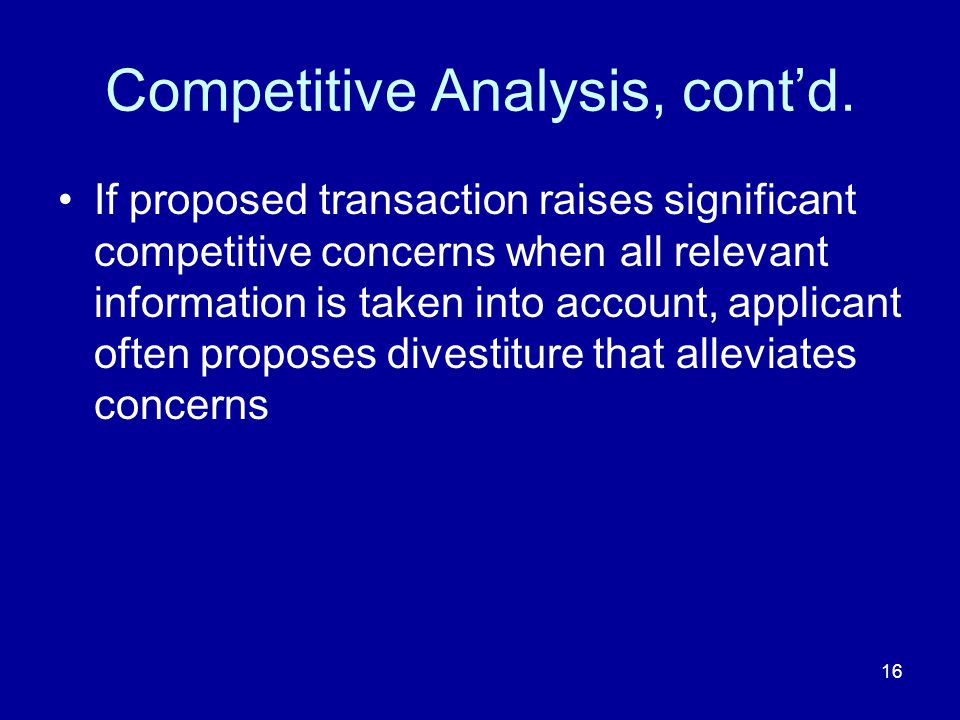 16 Competitive Analysis, contd.