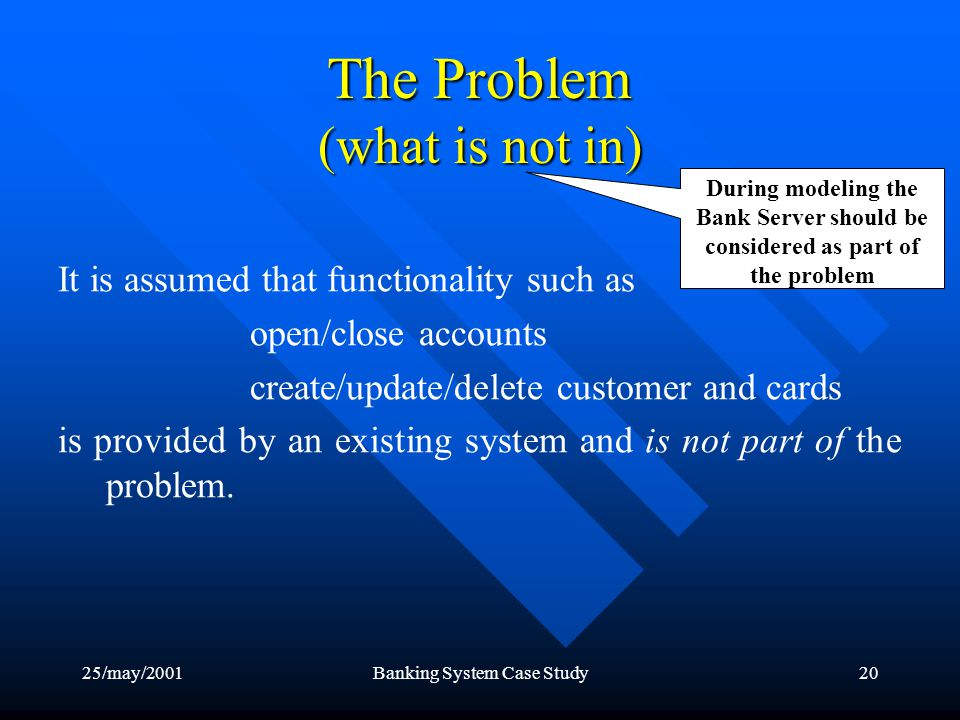 25/may/2001Banking System Case Study20 The Problem (what is not in) It is assumed that functionality such as open/close accounts create/update/delete customer and cards is provided by an existing system and is not part of the problem.