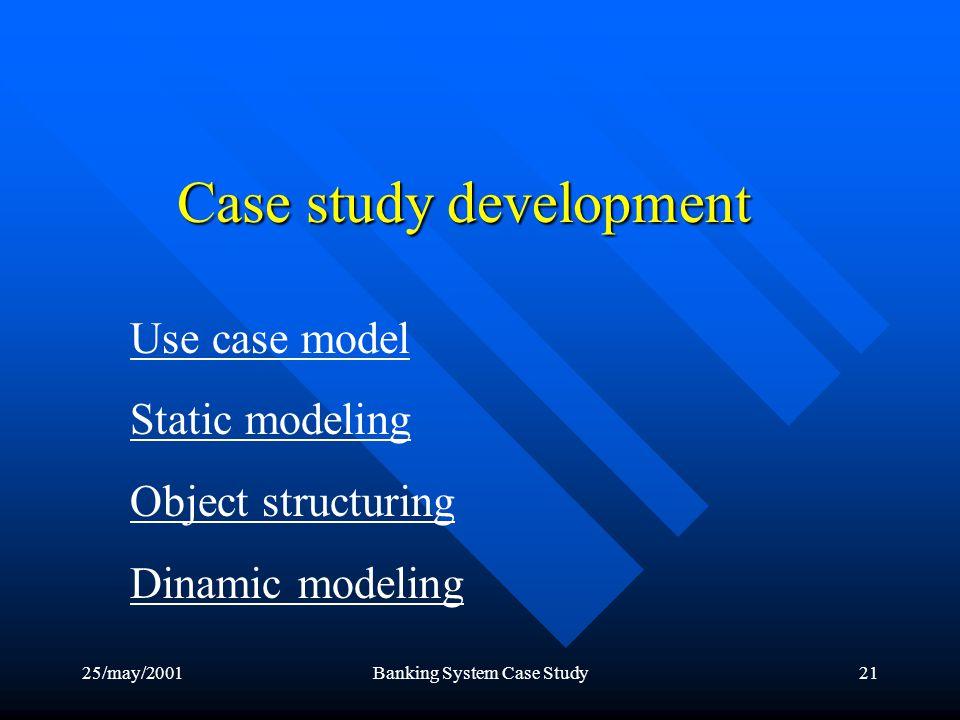 25/may/2001Banking System Case Study21 Case study development Use case model Static modeling Object structuring Dinamic modeling