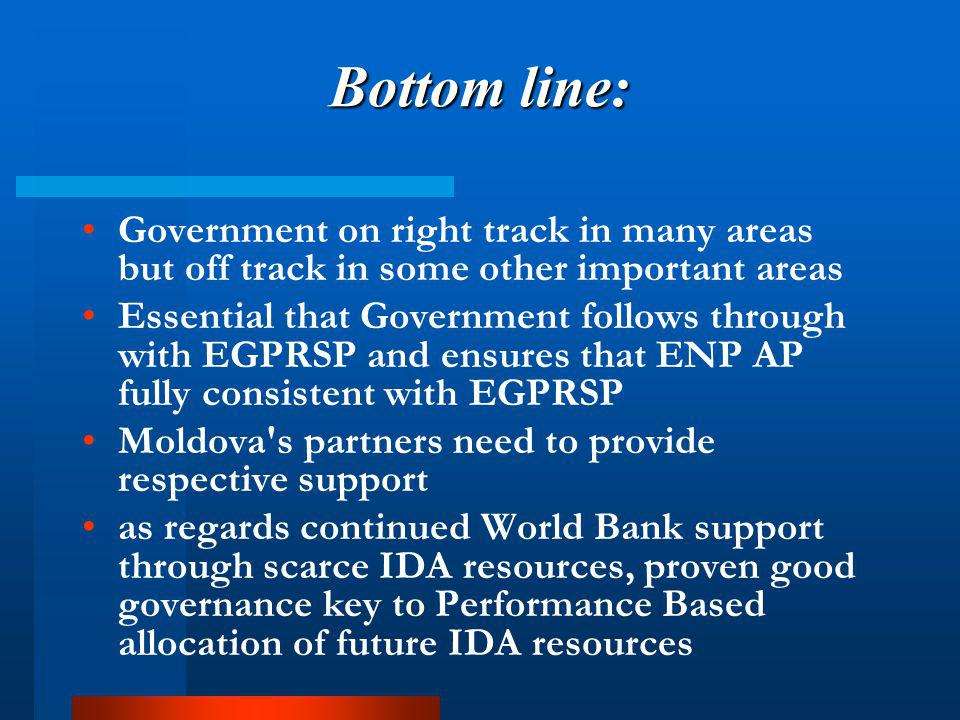 Bottom line: Government on right track in many areas but off track in some other important areas Essential that Government follows through with EGPRSP and ensures that ENP AP fully consistent with EGPRSP Moldova s partners need to provide respective support as regards continued World Bank support through scarce IDA resources, proven good governance key to Performance Based allocation of future IDA resources