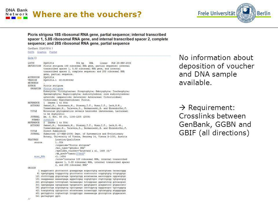 Where are the vouchers? No information about deposition of voucher and DNA sample available. Requirement: Crosslinks between GenBank, GGBN and GBIF (a