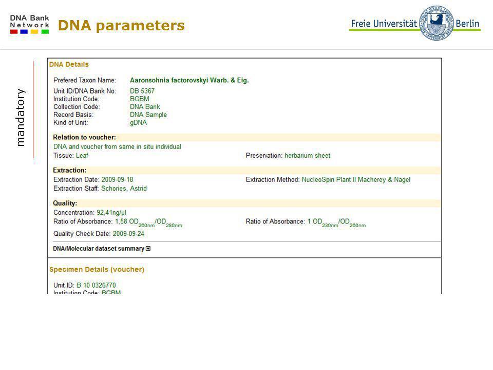 DNA parameters mandatory