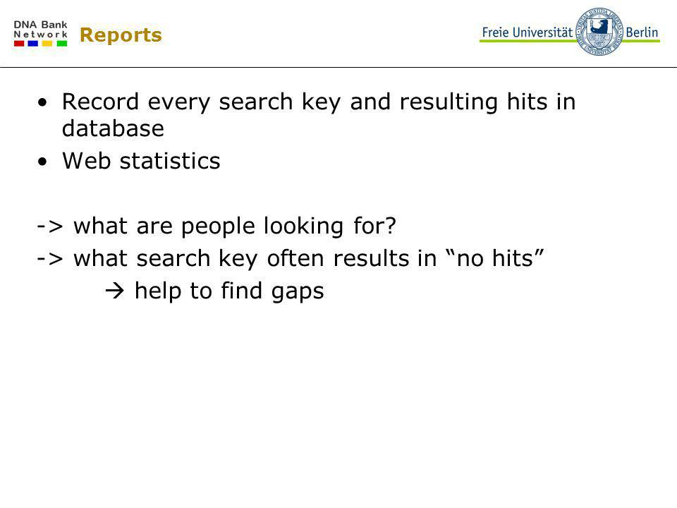 Reports Record every search key and resulting hits in database Web statistics -> what are people looking for? -> what search key often results in no h