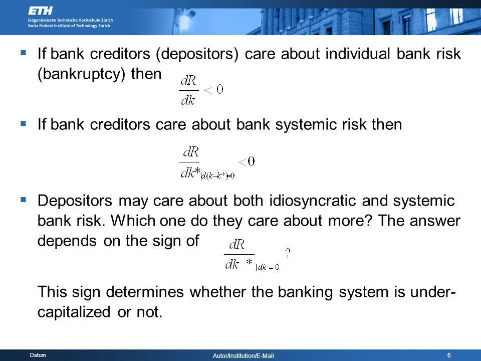 Datum Autor/Institution/E-Mail 6 If bank creditors (depositors) care about individual bank risk (bankruptcy) then If bank creditors care about bank sy