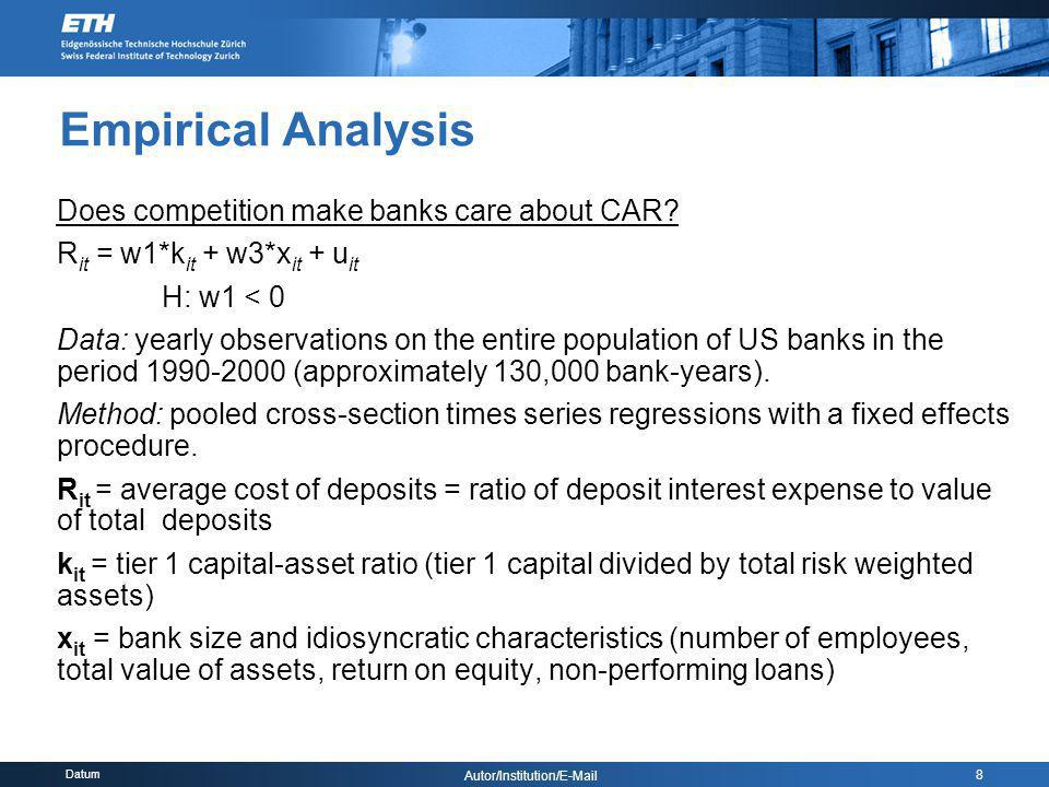 Datum Autor/Institution/E-Mail 8 Empirical Analysis Does competition make banks care about CAR? R it = w1*k it + w3*x it + u it H: w1 < 0 Data: yearly