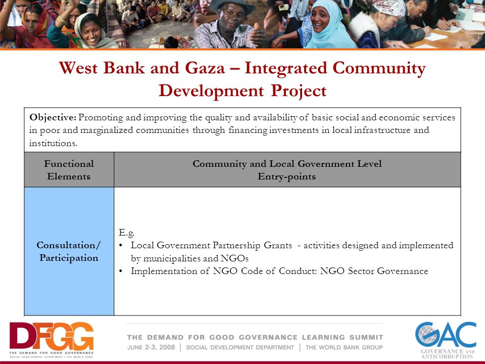 West Bank and Gaza – Integrated Community Development Project Objective: Promoting and improving the quality and availability of basic social and economic services in poor and marginalized communities through financing investments in local infrastructure and institutions.