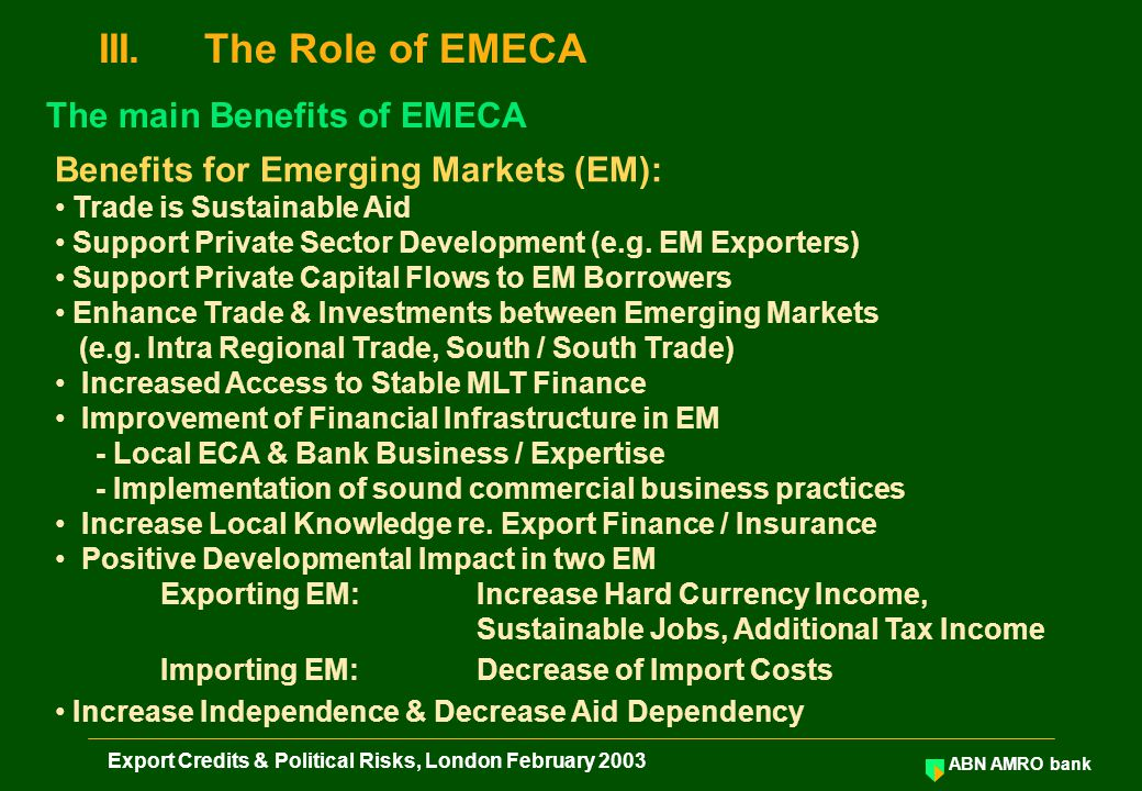 ABN AMRO bank Export Credits & Political Risks, London February 2003 Benefits for Emerging Markets (EM): Trade is Sustainable Aid Support Private Sector Development (e.g.