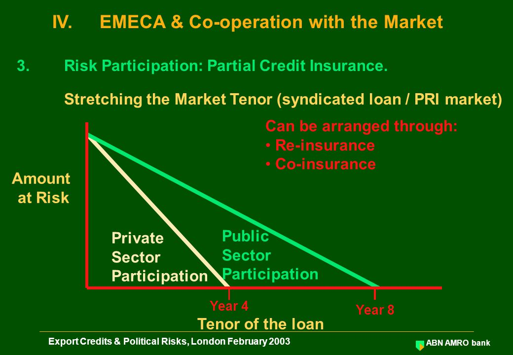 ABN AMRO bank Export Credits & Political Risks, London February 2003 3.Risk Participation: Partial Credit Insurance.