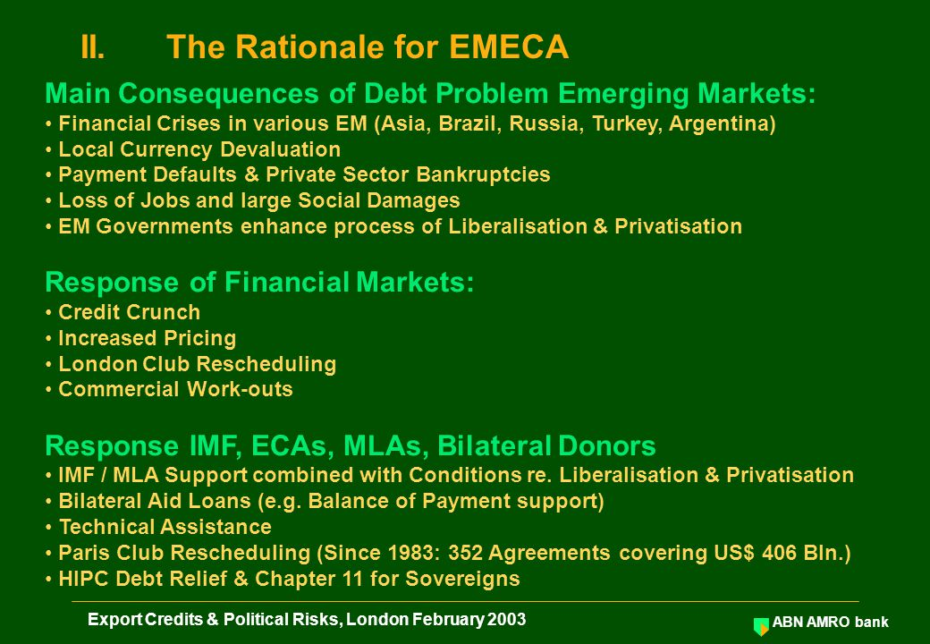 ABN AMRO bank Export Credits & Political Risks, London February 2003 EMECA Shareholders 1.Risk Participation: Equity.