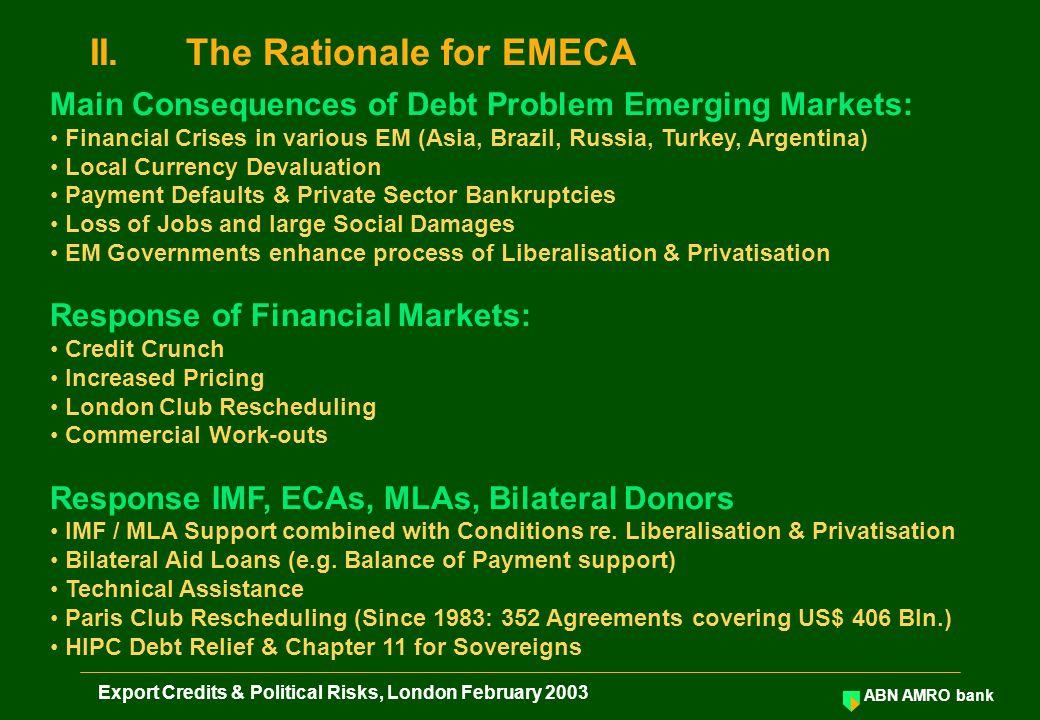 ABN AMRO bank Export Credits & Political Risks, London February 2003 Exporting EMImporting EM Exporter Bank Importer EMECA 1.