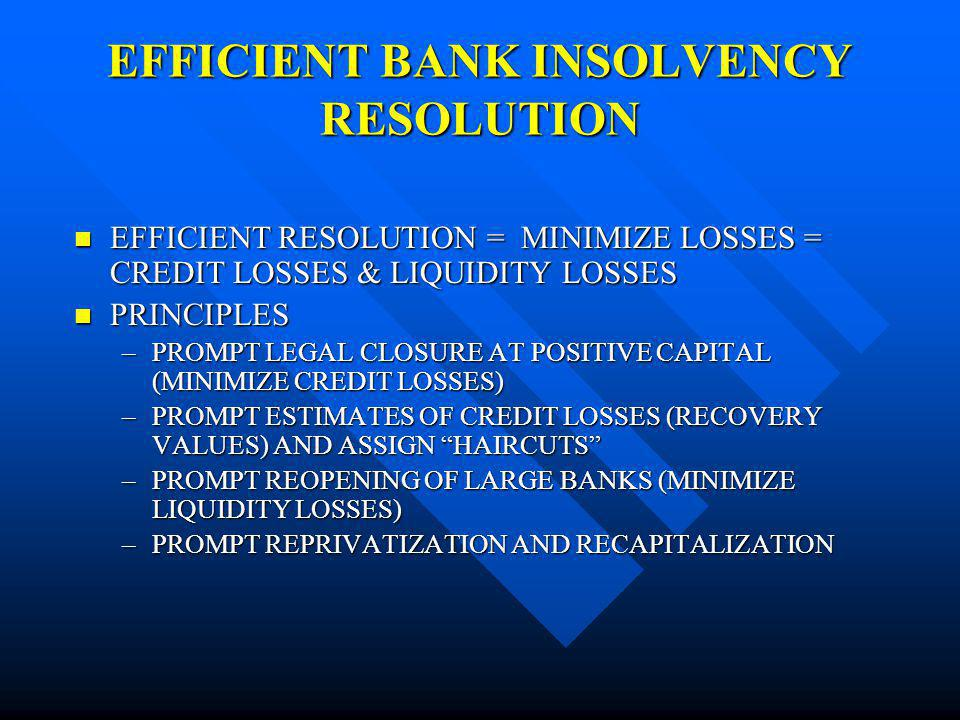 EFFICIENT BANK INSOLVENCY RESOLUTION EFFICIENT RESOLUTION = MINIMIZE LOSSES = CREDIT LOSSES & LIQUIDITY LOSSES EFFICIENT RESOLUTION = MINIMIZE LOSSES = CREDIT LOSSES & LIQUIDITY LOSSES PRINCIPLES PRINCIPLES –PROMPT LEGAL CLOSURE AT POSITIVE CAPITAL (MINIMIZE CREDIT LOSSES) –PROMPT ESTIMATES OF CREDIT LOSSES (RECOVERY VALUES) AND ASSIGN HAIRCUTS –PROMPT REOPENING OF LARGE BANKS (MINIMIZE LIQUIDITY LOSSES) –PROMPT REPRIVATIZATION AND RECAPITALIZATION