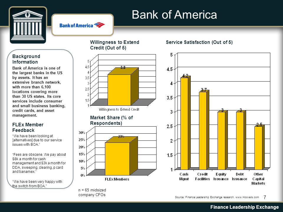 7 Background Information Bank of America is one of the largest banks in the US by assets.