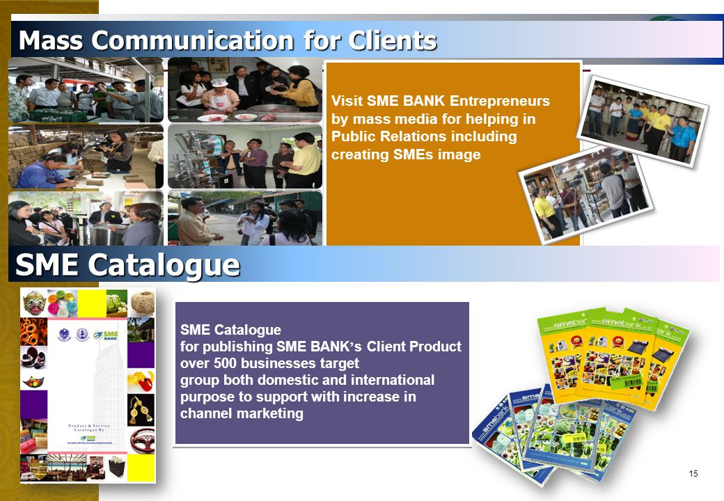 15 Mass Communication for Clients Visit SME BANK Entrepreneurs by mass media for helping in Public Relations including creating SMEs image Visit SME B