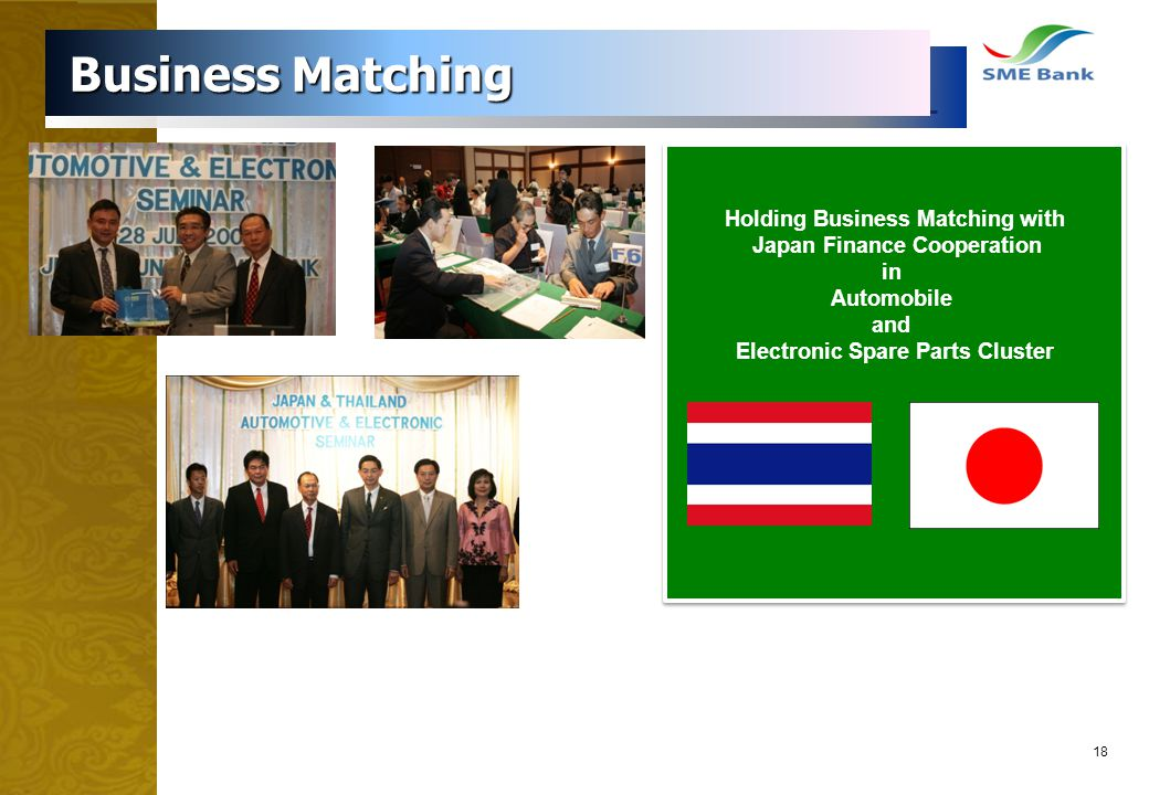 18 Business Matching Business Matching Holding Business Matching with Japan Finance Cooperation in Automobile and Electronic Spare Parts Cluster Holdi