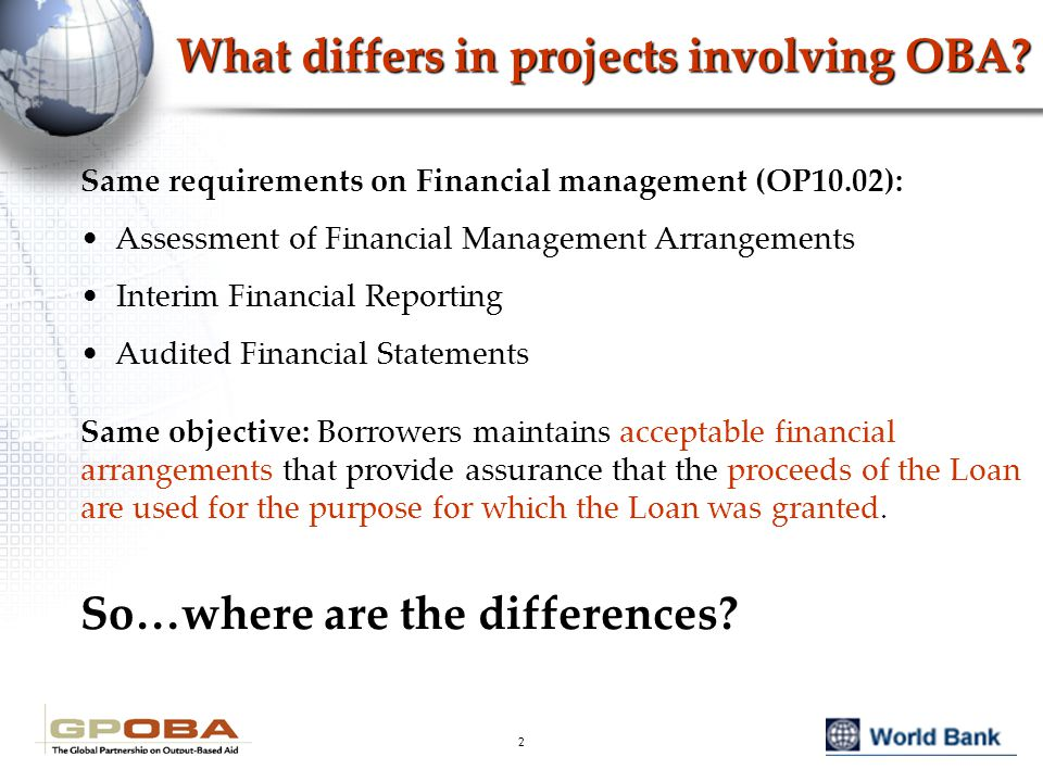 2 What differs in projects involving OBA.
