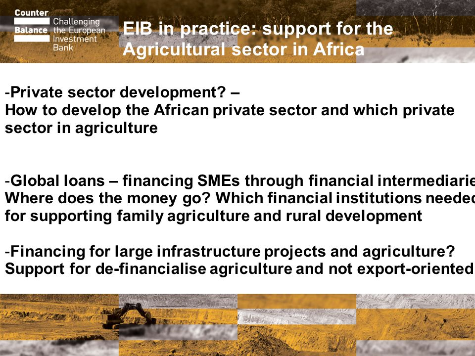 EIB in practice: support for the Agricultural sector in Africa -Private sector development.