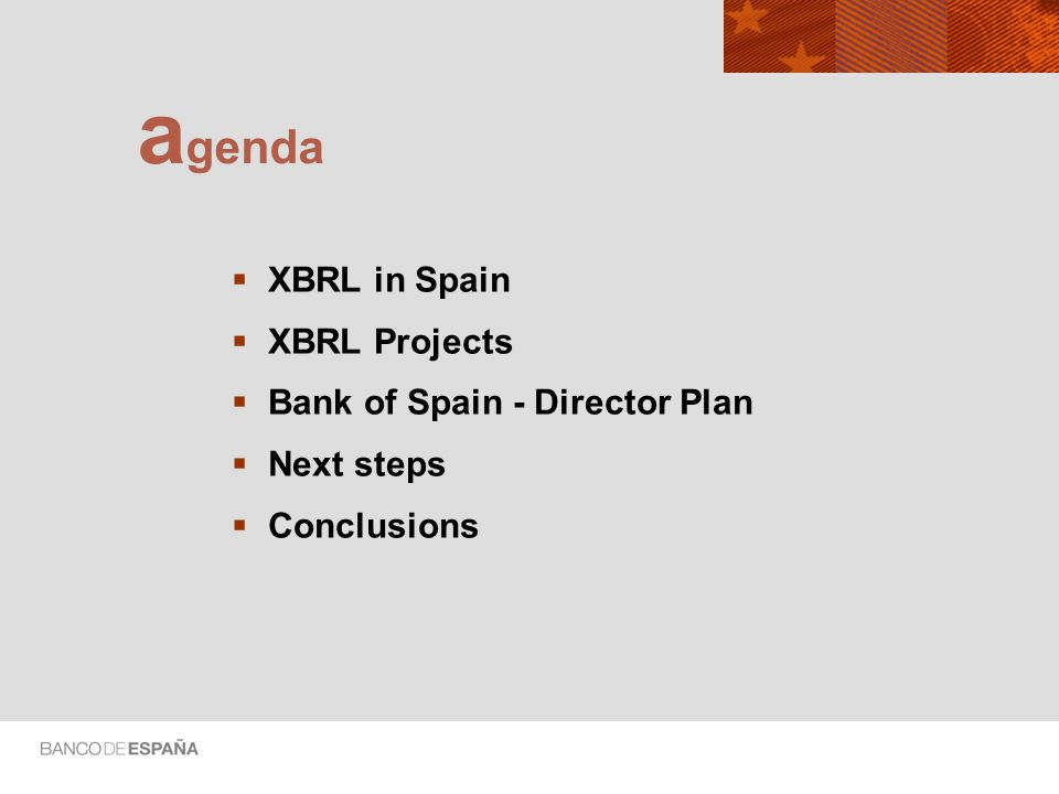 XBRL in Spain XBRL Projects Bank of Spain - Director Plan Next steps Conclusions a genda