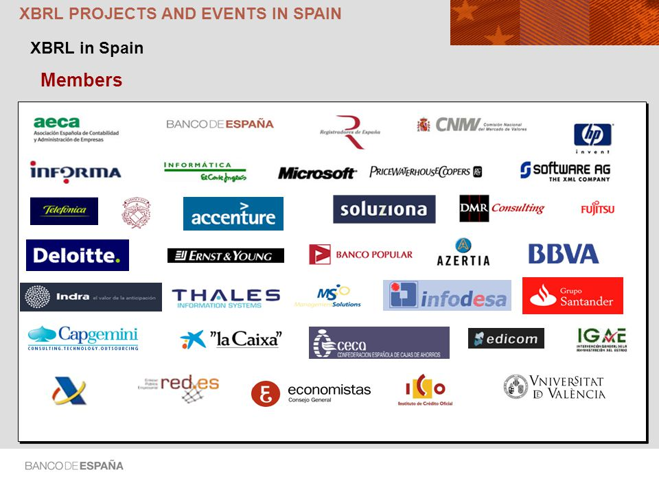 XBRL PROJECTS AND EVENTS IN SPAIN Members XBRL in Spain