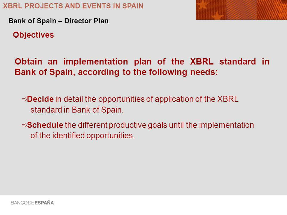 Objectives Obtain an implementation plan of the XBRL standard in Bank of Spain, according to the following needs: Decide in detail the opportunities of application of the XBRL standard in Bank of Spain.