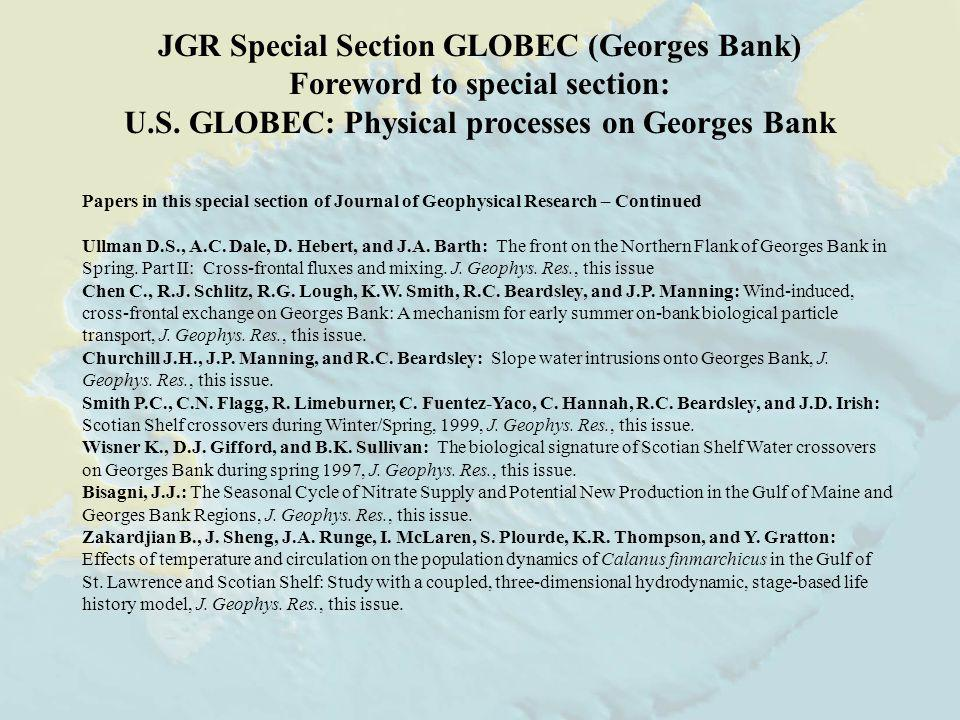 JGR Special Section GLOBEC (Georges Bank) Foreword to special section: U.S.