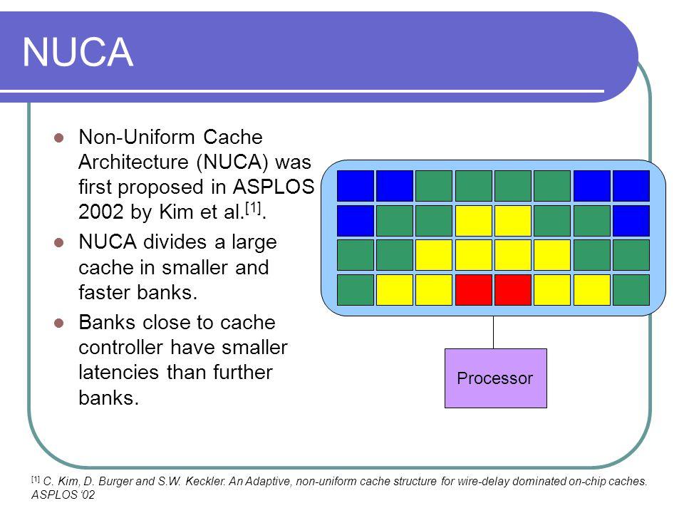 NUCA Non-Uniform Cache Architecture (NUCA) was first proposed in ASPLOS 2002 by Kim et al.