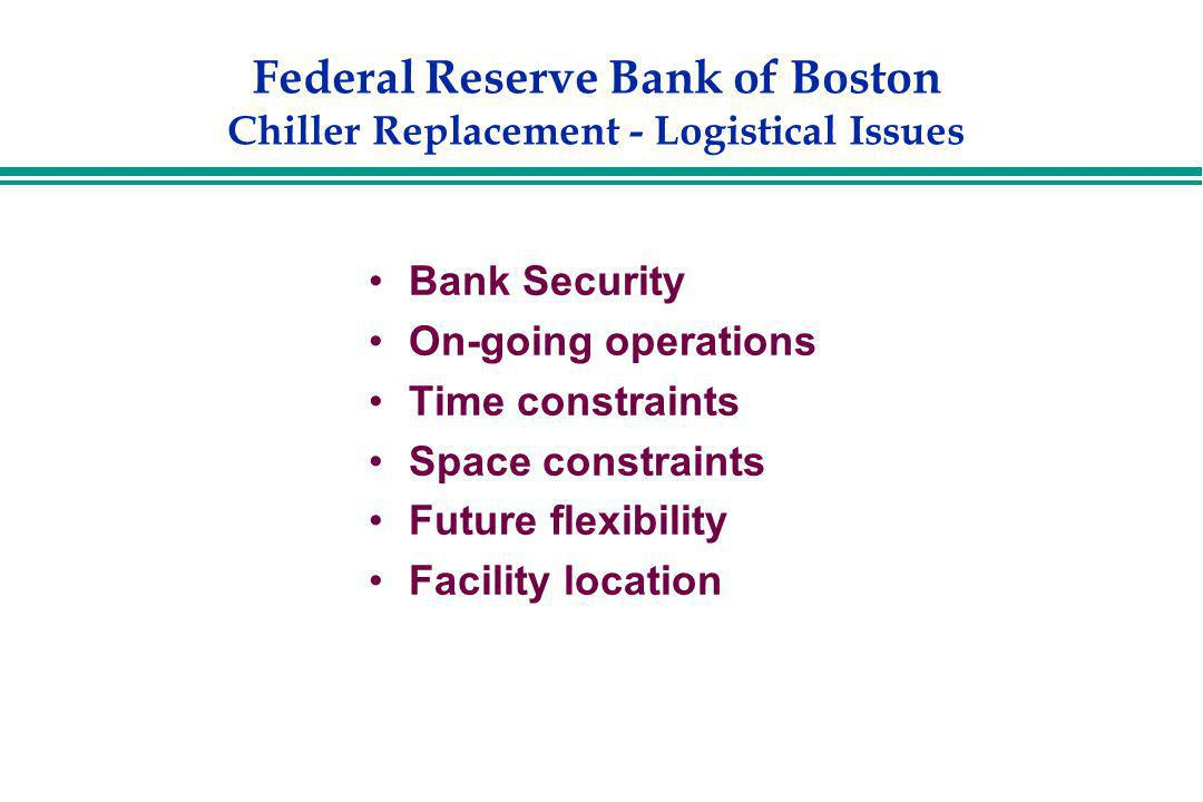 Federal Reserve Bank of Boston Chiller Replacement - Logistical Issues Bank Security On-going operations Time constraints Space constraints Future fle