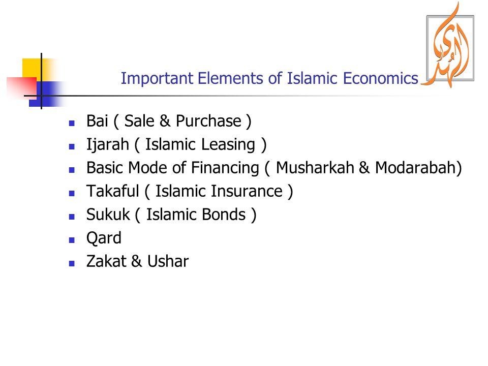 Important Elements of Islamic Economics Bai ( Sale & Purchase ) Ijarah ( Islamic Leasing ) Basic Mode of Financing ( Musharkah & Modarabah) Takaful (