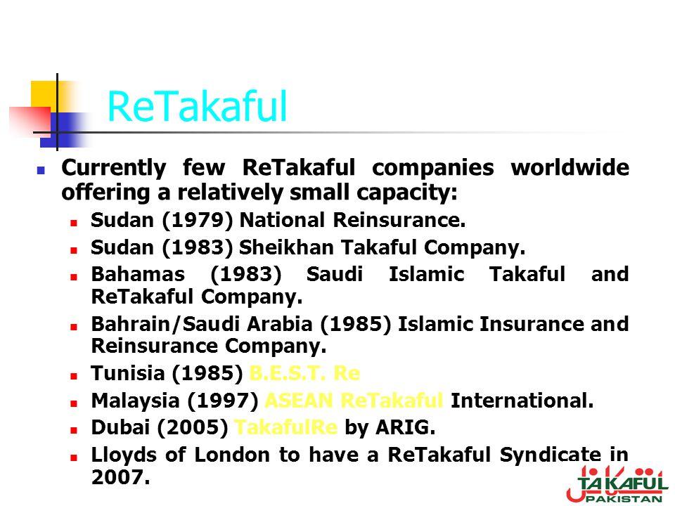 ReTakaful Currently few ReTakaful companies worldwide offering a relatively small capacity: Sudan (1979) National Reinsurance. Sudan (1983) Sheikhan T