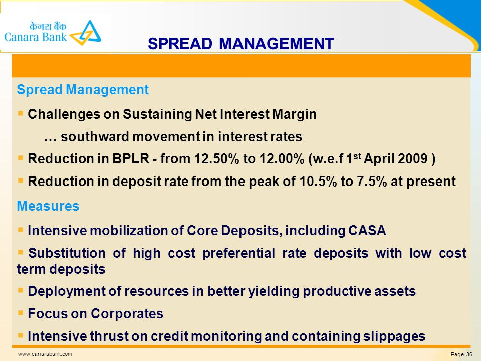 Page 36 www.canarabank.com SPREAD MANAGEMENT Spread Management Challenges on Sustaining Net Interest Margin … southward movement in interest rates Reduction in BPLR - from 12.50% to 12.00% (w.e.f 1 st April 2009 ) Reduction in deposit rate from the peak of 10.5% to 7.5% at present Measures Intensive mobilization of Core Deposits, including CASA Substitution of high cost preferential rate deposits with low cost term deposits Deployment of resources in better yielding productive assets Focus on Corporates Intensive thrust on credit monitoring and containing slippages