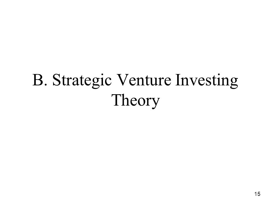 15 B. Strategic Venture Investing Theory