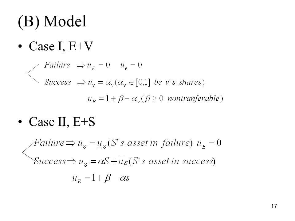 17 (B) Model Case I, E+V Case II, E+S
