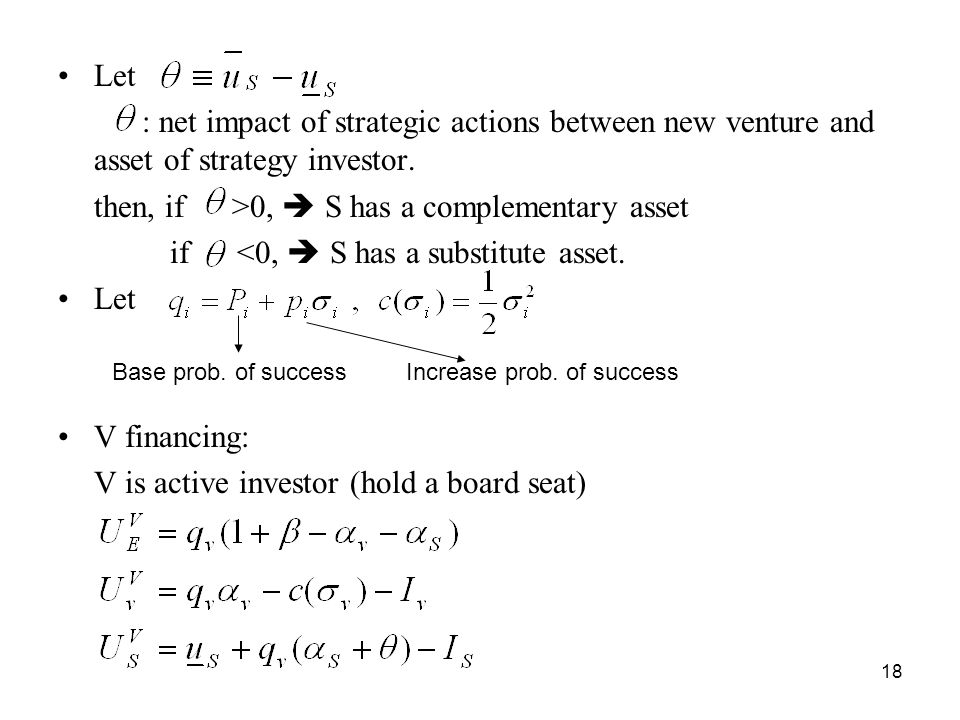 18 Let : net impact of strategic actions between new venture and asset of strategy investor.