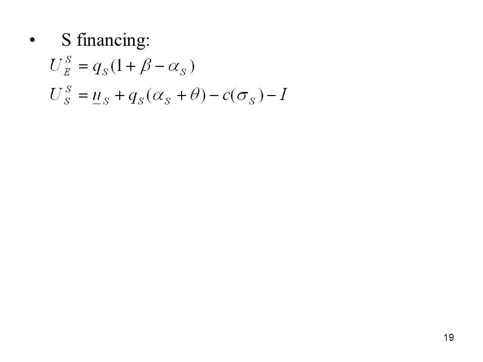 19 S financing: