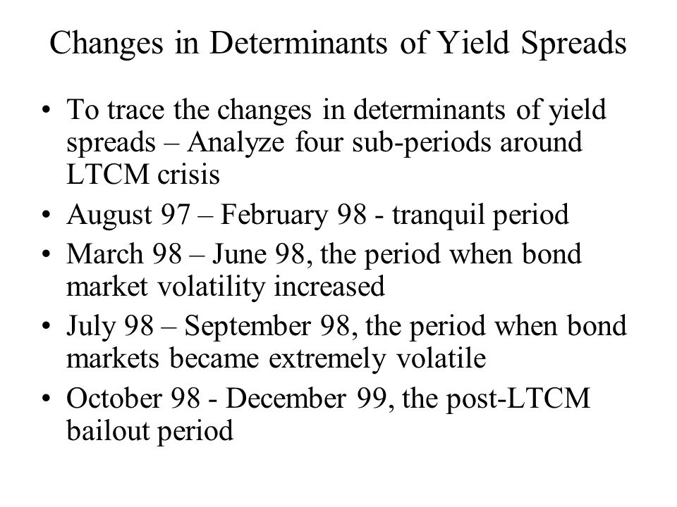 Changes in Determinants of Yield Spreads To trace the changes in determinants of yield spreads – Analyze four sub-periods around LTCM crisis August 97 – February 98 - tranquil period March 98 – June 98, the period when bond market volatility increased July 98 – September 98, the period when bond markets became extremely volatile October 98 - December 99, the post-LTCM bailout period