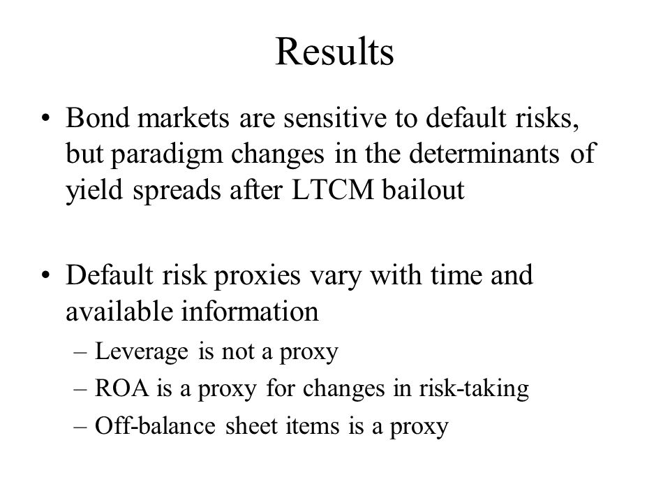 Results Bond markets are sensitive to default risks, but paradigm changes in the determinants of yield spreads after LTCM bailout Default risk proxies vary with time and available information –Leverage is not a proxy –ROA is a proxy for changes in risk-taking –Off-balance sheet items is a proxy