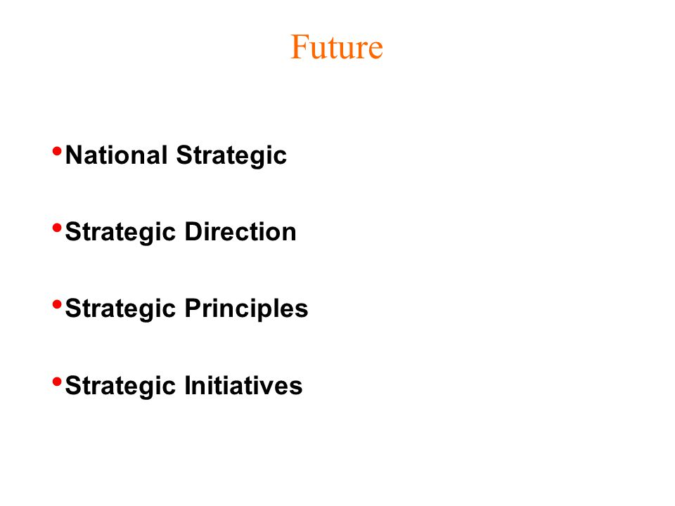 Future National Strategic Strategic Direction Strategic Principles Strategic Initiatives