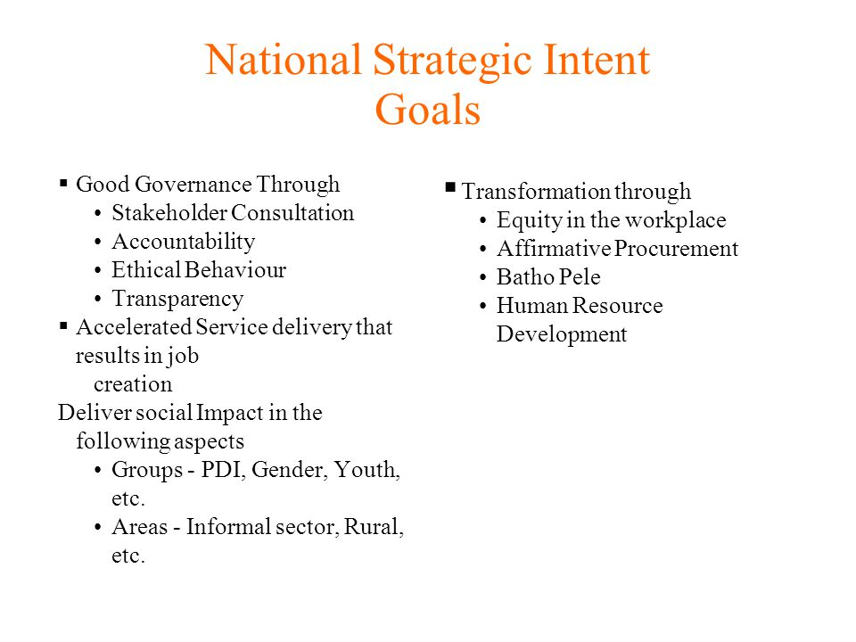 National Strategic Intent Goals Good Governance Through Stakeholder Consultation Accountability Ethical Behaviour Transparency Accelerated Service delivery that results in job creation Deliver social Impact in the following aspects Groups - PDI, Gender, Youth, etc.