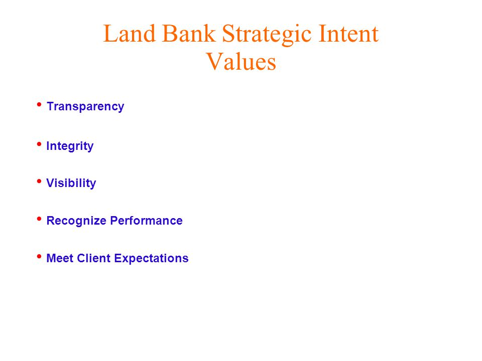 Land Bank Strategic Intent Values Transparency Integrity Visibility Recognize Performance Meet Client Expectations