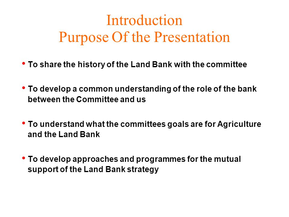 Land Bank Strategic Intent Services or Products Agricultural and Agri-business Loans through –Retail Network –Wholesale –Equity finance for BEE or Development projects –Agri-business Insurance –Short Term Through third Parties –Long Term Through SAVVEM - a LB Subsidiary Capacity Building Through Third Parties Information