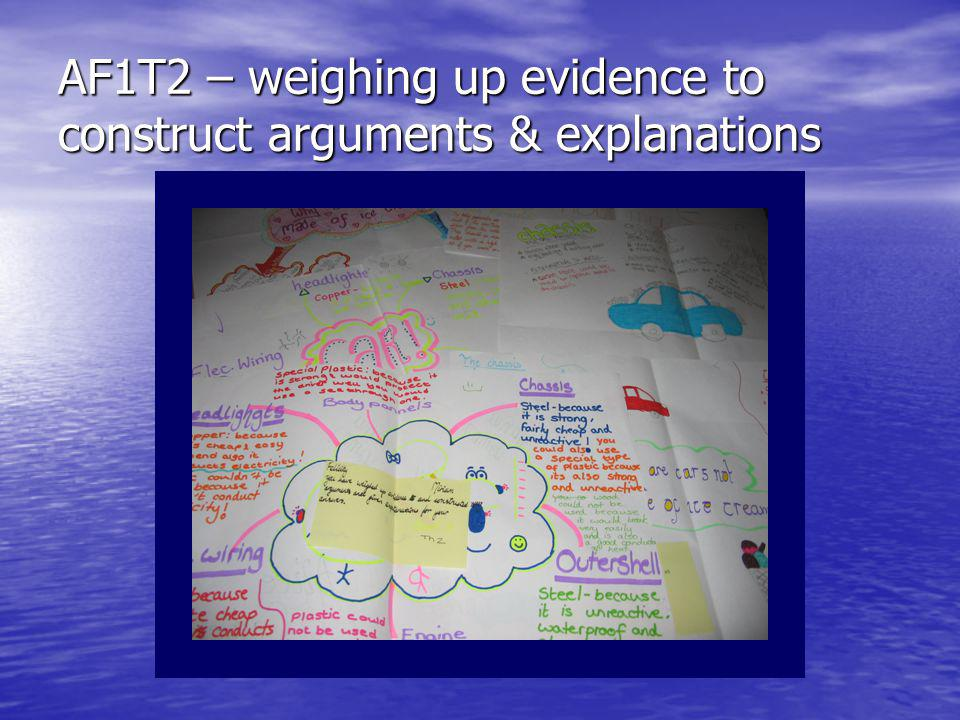 AF1T2 – weighing up evidence to construct arguments & explanations